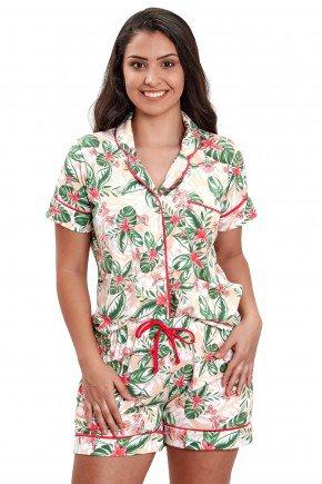pijama americano com botao aberto feminino curto estampado floral mania pijamas 3
