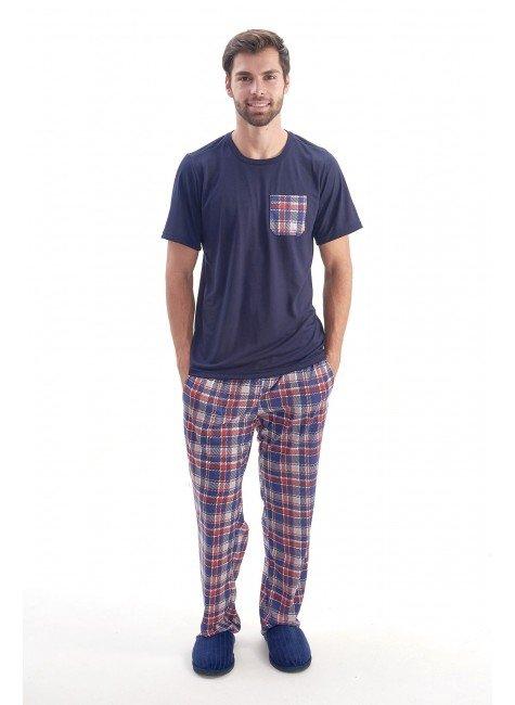 pijama meia estacao masculino camiseta manga curta com calca xadrez azul marinho com vermelho 4