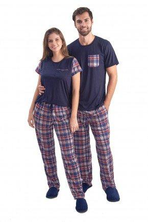 pijama meia estacao kit casal camiseta marinho com calca xadrez 2