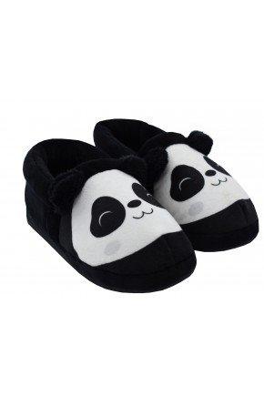 pantufa de panda peluciada adulto
