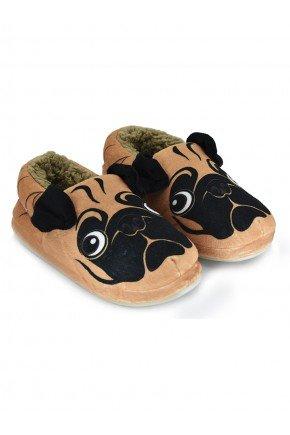 pantufa de cachorro pug peluciada mania pijamas