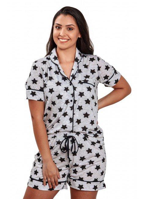 pijama americano feminino curto estrelas aberto com lapela mania pijamas 3