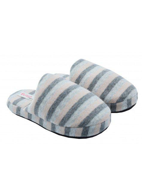 chinelo de quarto feminino felpudo listrado mania pijamas