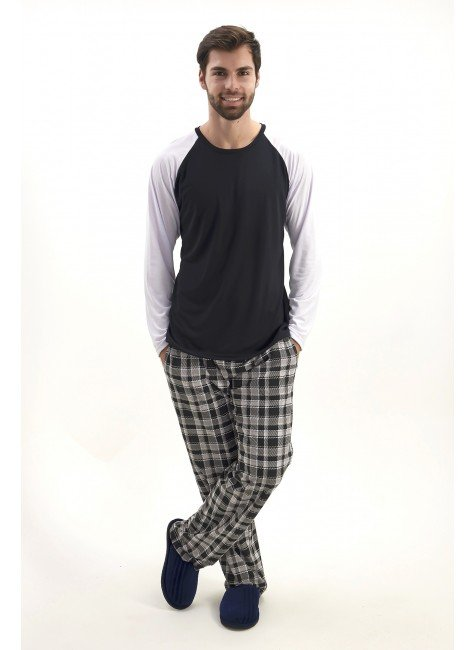 pijama de inverno masculino com calca xadrez mania pijamas 2