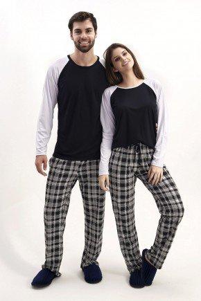 Pijama de Inverno para Casal Comprido com Cala Xadrez   Mania Pijamas