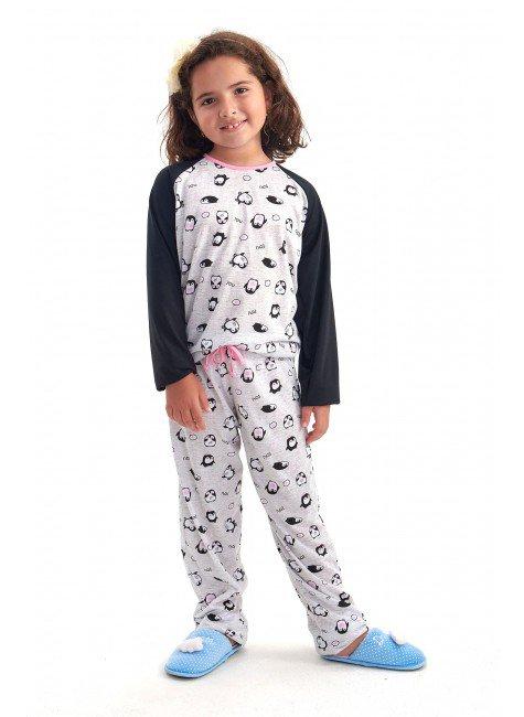 pijama de inverno infantil menina comprido com calca pinguim mania pijamas 4
