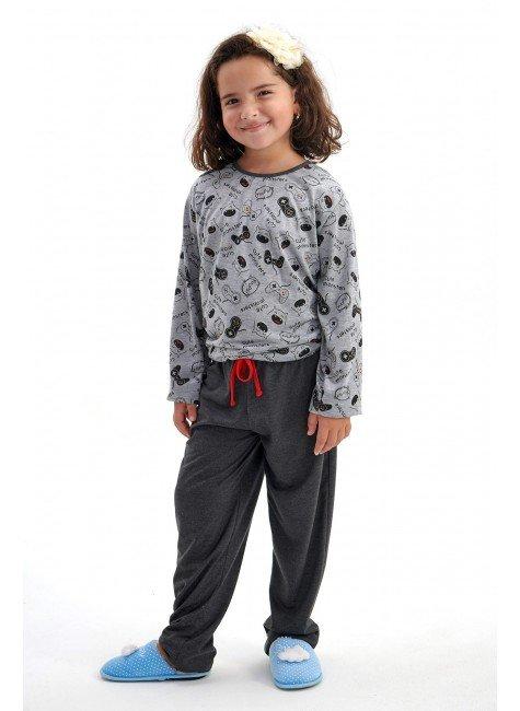 pijama de inverno infantil menina monstrinhos longo com calca mania pijamas 2