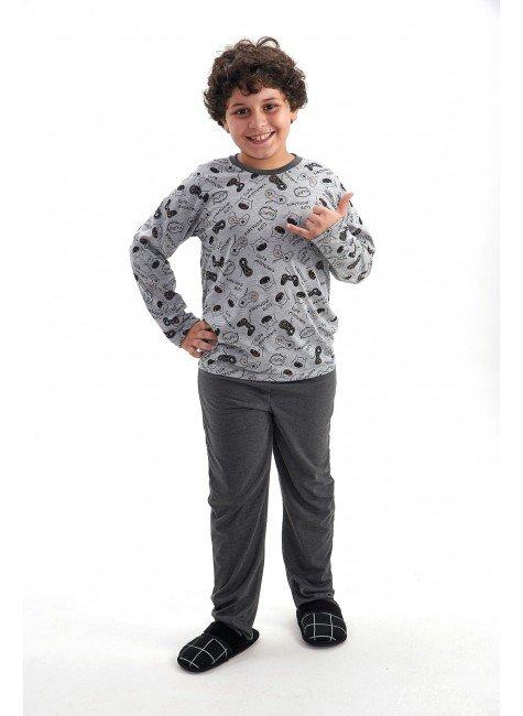 pijama de inverno infantil menino monstrinhos longo com calca mania pijamas 2