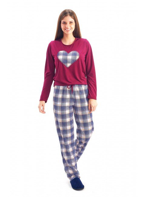 pijama feminino de inverno em malha vinho manga comprida com calca xadrez mania pijamas 2