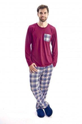 pijama masculino inverno longo de malha vinho com calca xadrez mania pijamas 2
