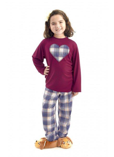 pijama de inverno infantil feminino vinho com calca xadrez mania pijamas 2