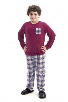 pijama inverno infantil e juvenil masculino vinho com xadrez comprido com calca mania pijamas 2
