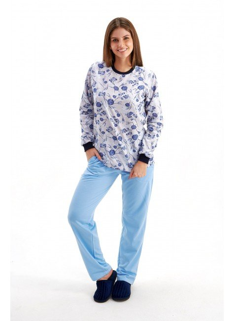 pijama flanelado feminino inverno longo floral azul mania pijamas 3