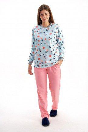 pijama feminino flanelado inverno floral primavera mania pijamas 4