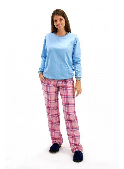 pijama feminino flanelado inverno xadrez mania pijamas 4
