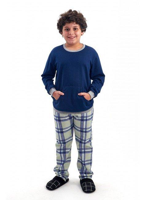 pijama infantil masculino de inverno flanelado xadrez marinho mania pijamas 2