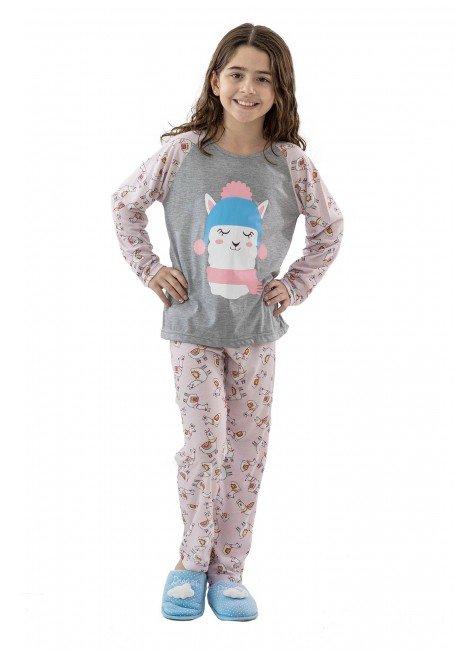 pijama infantil feminino longo de malha lhamas 01