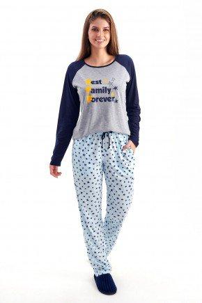pijama feminino de inverno em malha comprido com calca bff familia estrelas 5