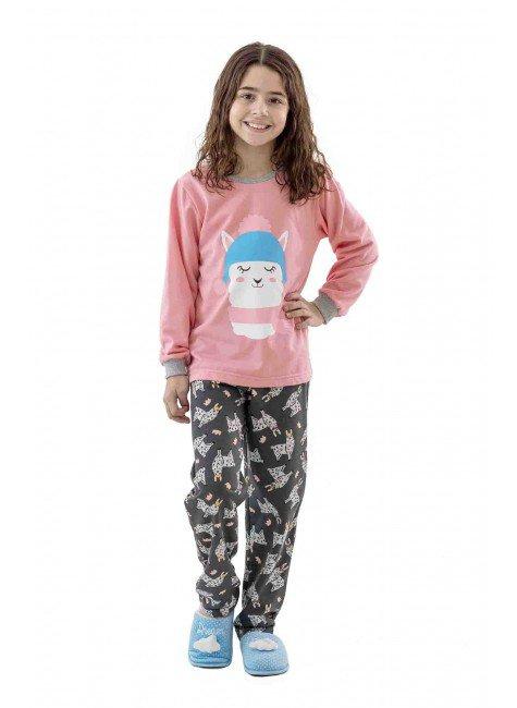 pijama de lhama flanelado infantil feminino 01 copia