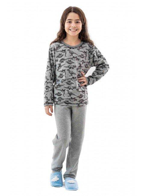 dinossauros flanelado pijama feminino flanelado infantil dinossauros