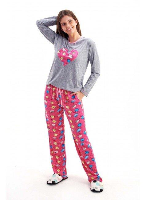 pijama feminino de inverno em malha gatinhos com coracao mania pijamas 2
