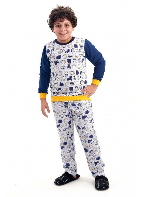 pijama infantil masculino menino flanelado de inverno com calca gatinhos mania pijamas 2