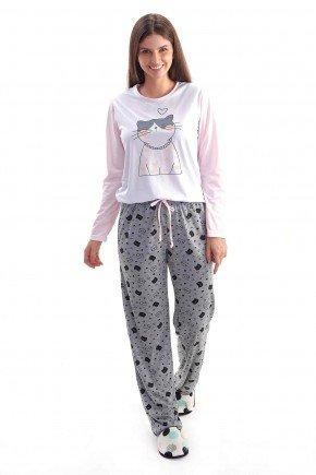 pijama feminino inverrno longo em malha gatinhos silk mania pijamas 2
