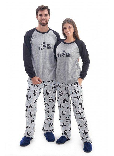 pijama de casal combinando flanelado inverno panda comprido com calca mania pijamas 2