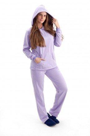 pijama feminino flanelado agasalho com capuz adulto manga comprida com calca lilas mania pijamas 4