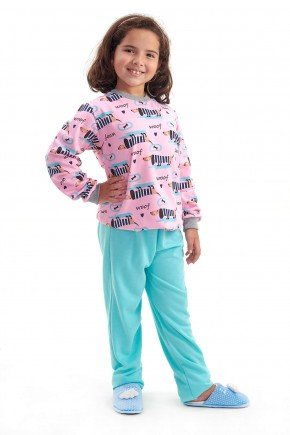 pijama infantil feminino flanelado menina cachorros mania pijamas 1