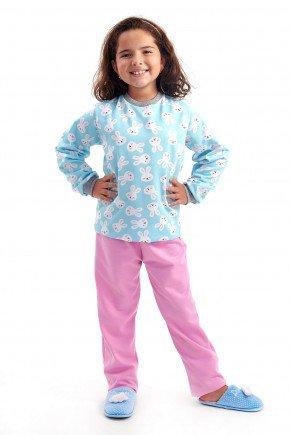 pijama infantil feminino flanelado menina coelhinhos fofos mania pijamas 4