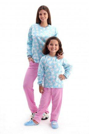pijama mae e filha flanelado de inverno coelhinhos 2