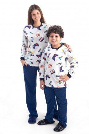 pijama mae e filho flanelado de inverno geek comprido com calca 1