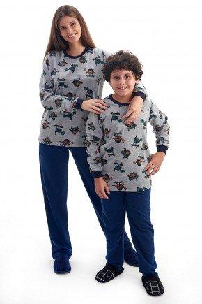 pijama mae e filho flanelado de inverno dinossauros 1