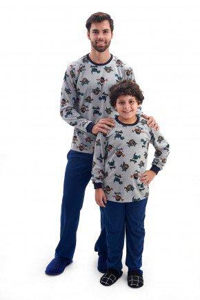 pijama pai e filho flanelado de inverno dinossauros 1