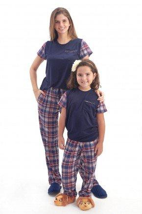 pijama mae e filha xadrez manga curta com calca 2