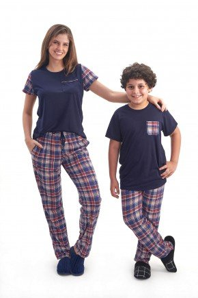 pijama mae e filho xadrez manga curta com calca xadrez mania pijamas 1