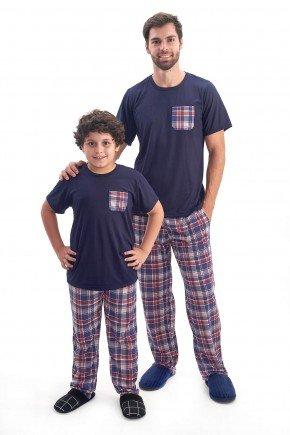 Pijama Pai e Filho Xadrez em Malha   Manga Curta com Cala