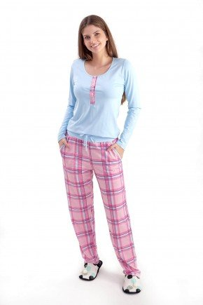 pijama de amamentacao e gestante de inverno longo xadrez mania pijamas 2