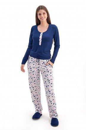 pijama feminino longo de inverno com abertura em botoes modelo coracoes gestante e amamentacao mania pijamas 2