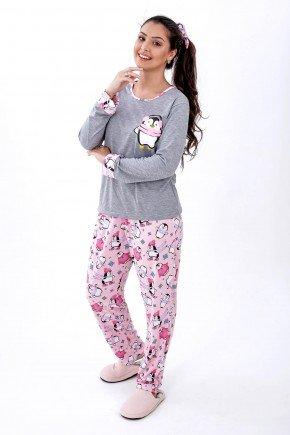 pijama feminino longo em malha inverno pinguim mania pijamas bs 2
