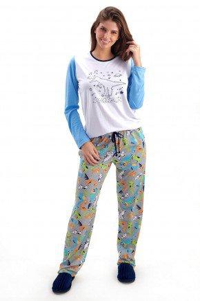 pijama feminino dinossauros longo com calca mania pijamas 2