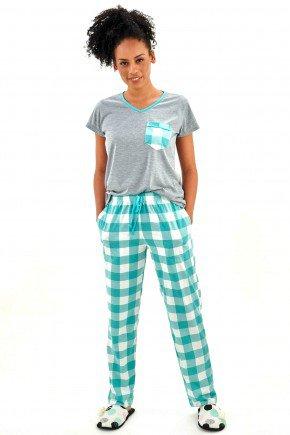 pijama feminino meia estacao manga curta com calca xadrez 3