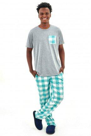 pijama masculino meia estacao manga curta com calca xadrez 3