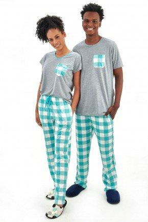 pijama de casal meia estacao xadrez verde manga curta com calca xadrez mania pijamas 2