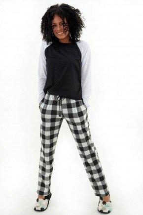 pijama feminino de inverno longo com calca xadrez branco e preto mania pijamas 3