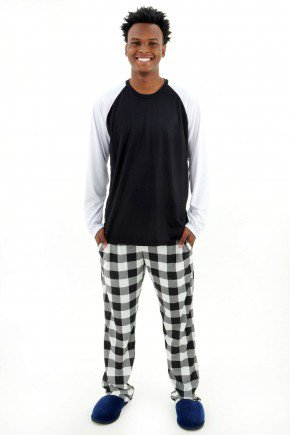 pijama masculino longo manga comprida com calca xadrez minimalista branco e preto mania pijamas 1