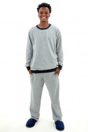 pijama flanelado masculino de inverno cinza mescla pijama longo com calca masculino mania pijamas 3