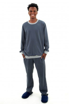 pijama flanelado masculino de inverno chumbo pijama longo com calca masculino mania pijamas 3