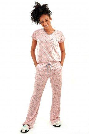 pijama feminino meia estacao xadrez rosa manga curta com calca flare mania pijamas 2